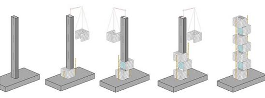Os cubos foram sobrepostos na estrutura de concreto